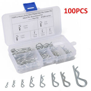 100pcs 6size R-Shaped Steel R Clips Lynch Hitch Cotter Hair Pin Assortment US