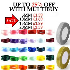 25 MTR's OF SATIN RIBBON 6,10,15,20mm + DOUBLE SIDED 10 MTR'S CHRISTMAS ORGANZA