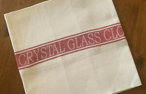 Thomas Ferguson  Quality Linen Crystal Glass Cloth - Red Stripe. Ireland.
