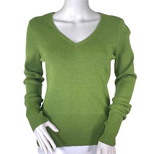 ATL Studio Green V-Neck Pullover Merino Wool Cashmere Long sleeve Sweater Small