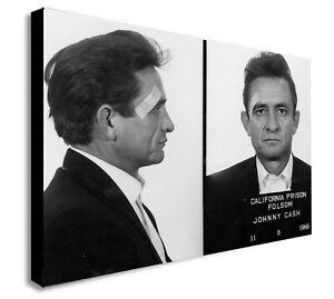 Johnny Cash Police Mugshot  - Canvas Wall Art Framed Print - Various Sizes
