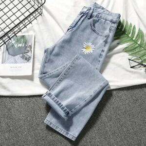 Daisy Embroidery Denim Jean Women High Waist Plus Size Mujer Vintage Casual Pant