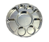 9 Compartments Silver Round Disposable Party Tray Thali Langar Plates 50 Pack