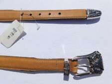 "DESIGNER LADIES TAN LEATHER BELT 1"" WIDE SILVER BUCKLE SIZE MEDIUM"