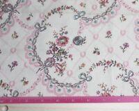 "Antique c1910-1920 Vintage French floral & Bow Cotton Fabric~L-15""X W-15"""