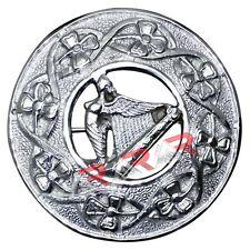 Fly Plaid Kilt Brooch Irish Harp Silver Chrome Unisex Adult Pin Jewelry