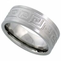 Men's Comfort Fit Stainless Steel Size 11 Wedding Band 8mm Engraved Design C25