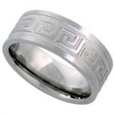 Men's Comfort Fit Stainless Steel Size 10 Wedding Band 8mm Engraved Design C25