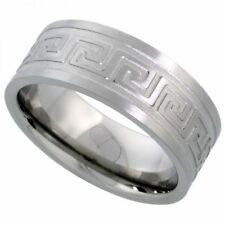 Men's Comfort Fit Stainless Steel Size 9 Wedding Band 8mm Engraved Design C25