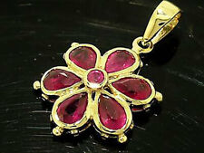 PE038 Genuine 9ct SOLID Gold NATURAL Ruby DAISY Pendant Flower Blossom