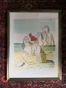 """Giorgio De Chirico Authentic Lithograph Author Proof """"Cavalli al tempio"""" Rare!!!"""