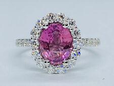 New 3.02 Ct Pink Ceylon Sapphire & D VVS1 Diamond Halo Ring 14k White Gold