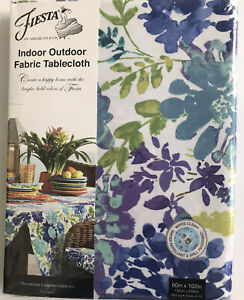 """Indoor Outdoor Fabric Tablecloth Town & Country Living Garden Floral 60x102"""" NIP"""