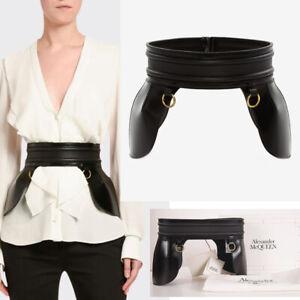 38 NEW $1,913 ALEXANDER MCQUEEN Black Leather PEPLUM CORSET Stunning Waist BELT