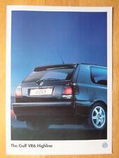 VOLKSWAGEN GOLF VR6 HIGHLINE orig 1996 1997 UK Mkt Sales Leaflet Brochure - VW