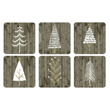 Pimpernel Wooden White Christmas Coasters Set of 6 Festive Dinner Table Mats