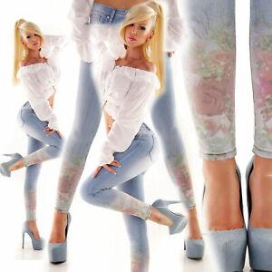 MOZZAAR Flower JEANS Print Rosen Blumen HOSE Röhrenjeans Skinny Stretch-Jeans S
