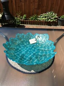 Brand New Akcam Turkish Hand Blown Glass Large Fruit Bowl **Perfect**