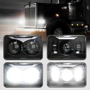 """4PCS 4x6"""" LED Headlights For Kenworth W900 T600/800 C500 T600A Peterbilt 357 378"""