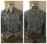 Vintage 1960s H Bar C men's paisley western shirt in grn org n white chest 52""