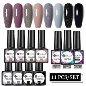 11pcs UR SUGAR Gel Nail Polish Sequins Glitter UV LED Soak Off with Top Base DIY