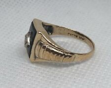 AWESOME *1930s* ESTATE 10K YELLOW GOLD BLACK ONYX & DIAMOND MENS BOYS PINKY RING