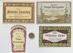 Weinetiketten, für Jahrgang 1920, Eckernförde, Carl Staack, Lot, 4 Stück