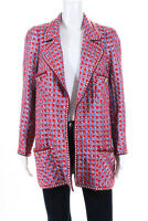 Edward Achour Womens Open Front Tweed Jacket Red Blue Size FR 48