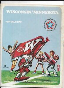 "1976 WISCONSIN BADGER FOOTBALL ""W"" CLUB DAY PROGRAM VS MINNESOTA (JS)"