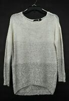 RDI Womens Scoop Neck Long Sleeve Crochet High-Low Variegated Knit Sweater M