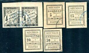 REUNION PORTO 1886 Yvert TT 1,3-5 gestempelt + VORLÄUFER PAAR (D8853