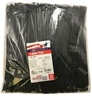 """500 Black 11"""" Inch Nylon Cable Wire Wrap Zip Ties 50 LBS UV Resistant - USA"""
