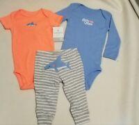 Carter's boys 9 Months 3-piece Set Blue Orange Dolphin pants short & long shirt