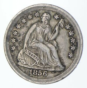 5c **1/2 Dime HALF** 1856 Seated Liberty Half Dime Early American Type Coin *505