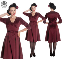 Fab HELL BUNNY War Bride WW2 Vintage 40s DRESS Plum Satin Burgandy14 RRP £40