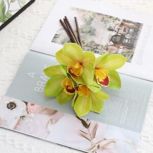 Artificial Flowers Silk Fake White Orchid Cymbidium Wedding Bouquet Home Decor