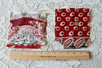 2 French c1860 Hand Blocked Cotton Turkey Red Bandana Samples