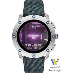 Mens Smartwatch DIESEL AXIAL DZT2015 Leather Blue Jeans Touchscreen GEN 5