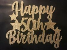 Custom Cake Topper Happy 50th Birthday With Stars Glitter Any Words, Date,