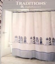 Traditions LIGHTHOUSES Shower Curtain Fabric Antique Shiplap Background New