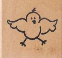 "baby bird zimprint Wood Mounted Rubber Stamp 1 x 1""  Free Shipping"