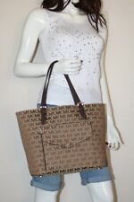 NWT MICHAEL Michael Kors Jet Set Travel Beige Ebony Java Pocket Medium Tote Bag