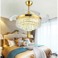 """36inch/42"""" Gold LED Invisible Ceiling Fan Light Crystal Chandelier Lamp w/Remote"""