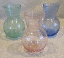 Set of 3 Crackle Glass Vases in Blue, Green & Pink, 5� Tall