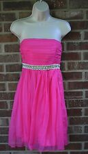 NWT MILLY Bright Pink  Empire Waist Silk Strapless Dress Size 10 BEAUTIFUL Prom