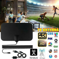 50Miles Indoor Freeview HD Digital TV Antenna Aerial Signal Amplified 4K 1080P