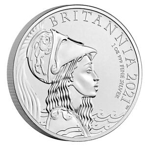 2021 Great Britain £2 Britannia Premium BU 1 oz Silver Coin - 7,500 Made