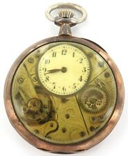 * VERY UNUSUAL / ANTIQUE / SKELETON FRONT / .800 SILVER 16S VALOR POCKET WATCH.