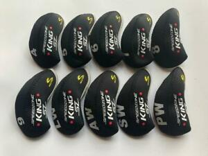 10PCS Iron Covers for Cobra King Speedzone SZ Club Headcovers 4-LW Black&Black