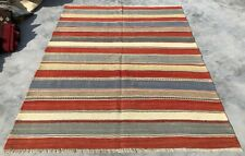 New listing Authentic Hand Knotted Vintage Poland Kilim Kilm Area Rug 7 x 5 Ft (839 Kbn)
